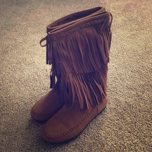 Brown Chestnut Fringe Boots Size 8.5